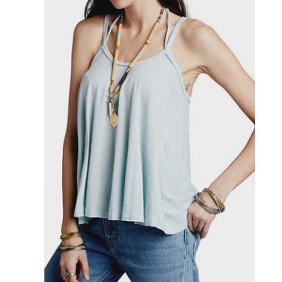NWT FREE PEOPLE Women/'s OB506979 Blue So In Love With You Tank Small Large